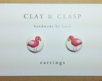 Flamingo Earrings - beautiful handmade polymer clay jewellery by Clay & Clasp