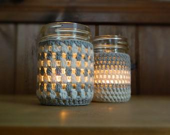 Instant download - PDF crochet pattern - Candle holder / mason jar cover 2 patterns #44