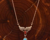 Vintage Sterling Silver - NAVAJO RB Dainty Turquoise & Coral - Necklace (057)