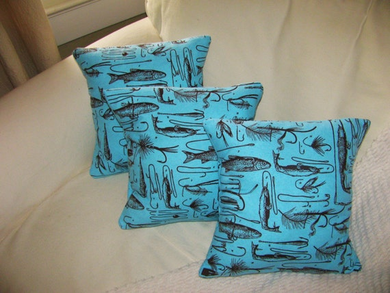 Set of 3 Fishing Throw pillow covers insert included Beach