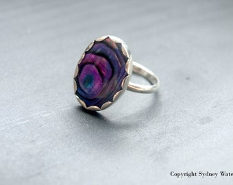 Purple Paua Shell Ring - Size 7.5
