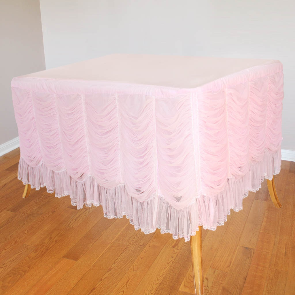 Pink Banquet Ruffled Ruched Lace Tablecloth by LovelyDecor ... Ruffled Tablecloth