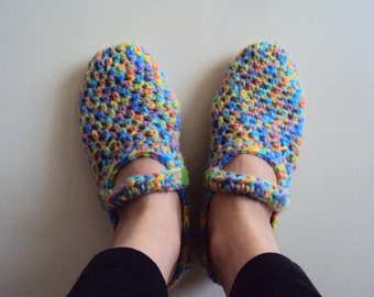 End of Season SALE! Crochet Slippers House Slippers Women's Slippers with Buttons Gift For Her