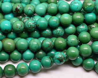 "16""  10mm   Viridian  Turquoise  Round   Bead"