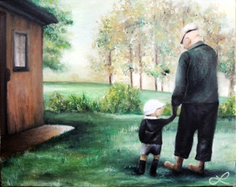Father and Son Print of Original Oil Painting by Lindsey - Farm Life - Happy Father's Day - Christmas Gifts for Dad or Grandpa