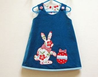 Sewing pattern Petal Reversible dress with Easter Bunny applique pdf sewing pattern by Felicity Patterns size 6 - 9 mths to 8 yrs.