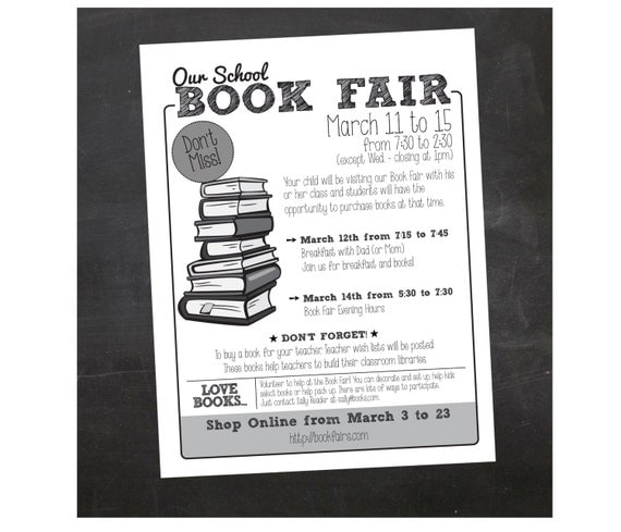 Custom Printable Book Fair School Flyer - PTA Flyer by inspiration studio | Catch My Party