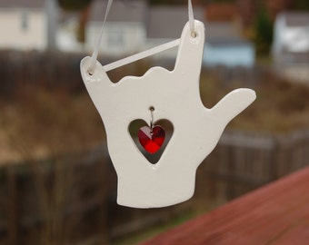 "ASL  ""I Love You""  Sun Catcher, Porcelain Sun Catcher with Austrian Crystal Heart, American Sign Language, Sign Language Sun Catcher, Lov"