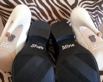 He's Mine She's Mine Shoe Stickers