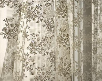 Ivory Bridal Lace Fabric, Retro Embroidered Lace, Chic Wedding Dress Lace, Veil Lace Fabric, fabric by yard