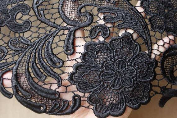black lace fabric crochet lace fabric bridal lace. Black Bedroom Furniture Sets. Home Design Ideas