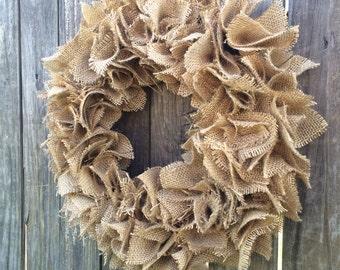 "18"" SHABBY CHIC Burlap Rag Wreath, All Seasons Decor,Burlap Wreath"