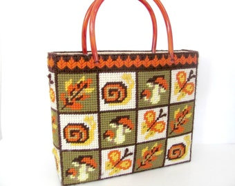 Vintage Needlepoint Tote Bag, 1970's Mushroom, Butterfly Purse, Tote, Fall Tote Bag, Vintage Handmade, Green, Orange Tote, 1970s Tote, Purse