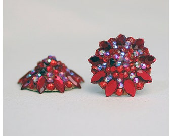 Rhinestoned burlesque pasties, red and light siam ab