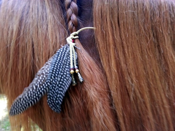 horse tail hair style guinea fowl feather equine mane or hair by mybuddybling 5028 | il 570xN.648878737 otwf