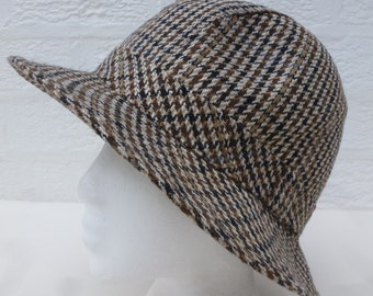 Mens hat womens tweed hat fishermans accessory wool hat 1990s tweed accessory womens accessories ladies tweed vintage hat 90s gifts for him.
