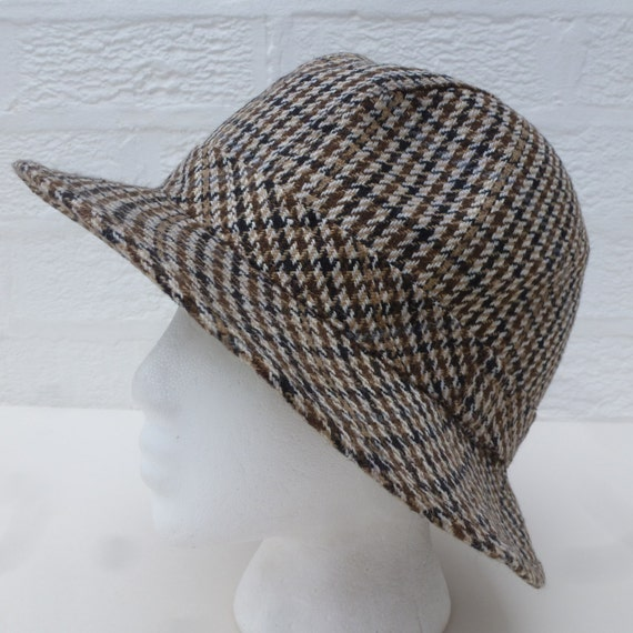 Mens hat womens tweed hat fishermans accessory wool hat 1990s