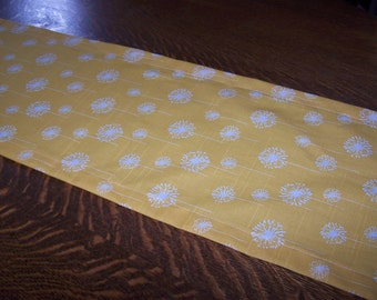 YELLOW TABLE RUNNER - Premier Prints Fabric - Corn Yellow & White - Yellow Dandelion - Nursery - Baby Shower - Birthday Party - Wedding