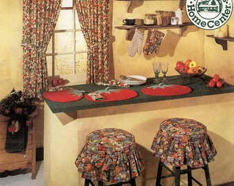 McCall's Sewing Pattern 8088 Kitchen Curtains, Placemats, Potholder, Oven Mitt, Chair & Stool Pillow, Towel, Shelf Liner