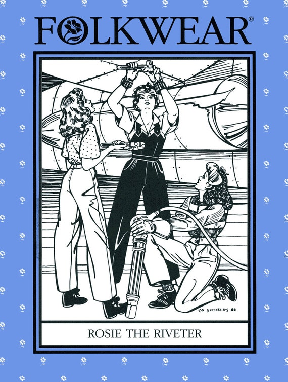 1940s Sewing Patterns – Dresses, Overalls, Lingerie etc Folkwear Rosie the Riveter WWII 1940s Overalls Shirt Slacks Sewing Pattern #240 size 6-20 $19.95 AT vintagedancer.com