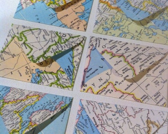 Set of 20 Vintage Assorted Map Atlas Pages Colorful Mini Envelopes with Cards