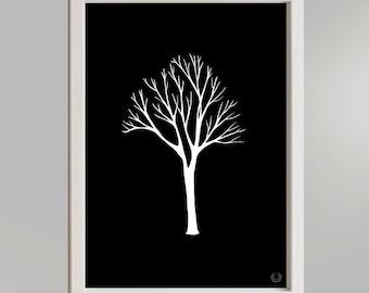 Tree in Black Illustration Print