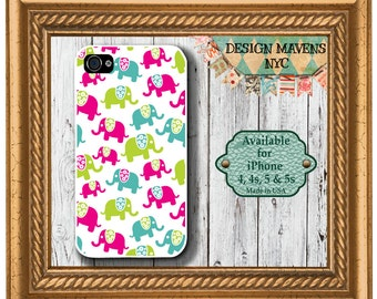 Preppy Elephants iPhone Case, Elephant iPhone Case, iPhone 4, 4s, iPhone 5, 5s,  5c, iPhone 6, 6s, 6 Plus, SE, iPhone 7, 7 Plus