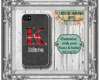 Red Tartan Plaid Initial iPhone Case, Christmas iPhone Case, Personalized iPhone Case, iPhone 6, 6s, 6 Plus, SE, iPhone 5, 5s, 5c, 4, 4s