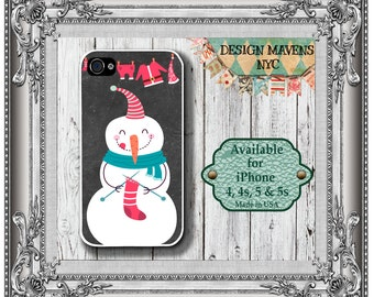 Knitting Snowman iPhone Case, Chalkboard iPhone Case, iPhone 4, 4s, iPhone 5, 5s, 5c, iPhone 6, 6s, 6 Plus, Phone Cover, Phone Case