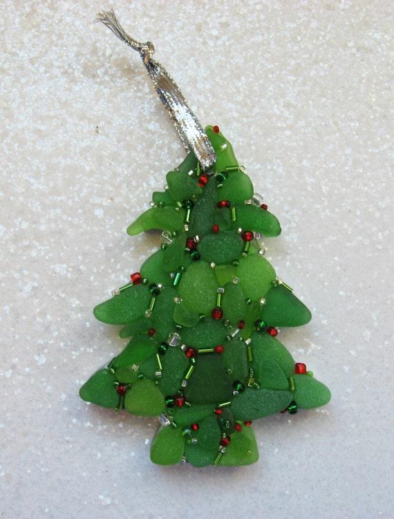 Sea Glass Christmas Tree Mosaic Ornament