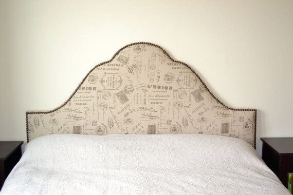Gorgeous custom paris linen king headboard for Unique king headboards