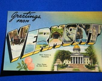1940's Antique linen postcard Greetings from Vermont vintage paper Ephemera Tichnor Bros Boston Massachusets greeting card