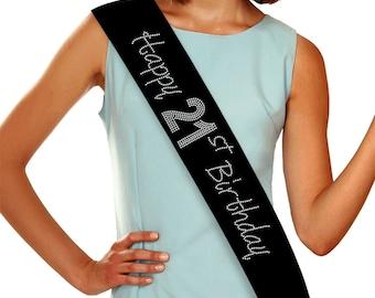 Happy 21st Birthday Rhinestone Sash, 21st Birthday - Custom Sash