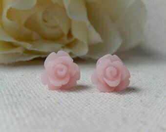 Soft pink flower earrings,Rose earrings,Petite stud earrings,Shabby chic jewelry,Unique gift