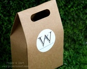 50 Kraft Sturdy Paper Bags with Handle + Personalized Stickers/ Labels - Flat Bottom Brown Paper Bag - Craft Show/ Wedding/ Party Favor Bag