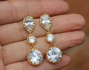 gold round cz earring , long round earring , gold wedding earring , bridal earring
