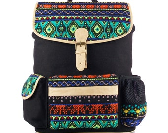 Black Jacquard Backpack with Laptop Protection