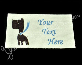 "Super Dog Pooch - ""Iron On"" or ""Sew In"" - Cotton Fabric Labels (White) - For Crochet, Knit, Sew and Quilt Heirlooms"