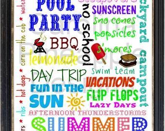 Summertime Summer Fun Subway Art printable 8x10 June  July  August  Instant Download