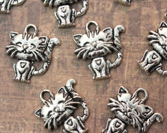 10 Cat Charms Cat Pendants Antiqued Silver Tone  15 x 15 mm