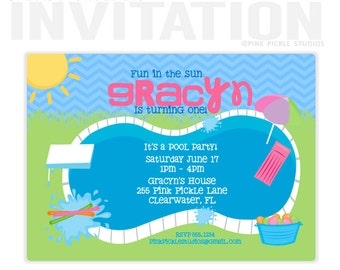 Pool Party Invitation, Pool Party Invite, Pool Invitation, Pool Birthday Party, Pool Party, Pool Party Printables, Splash Party, Pool //255