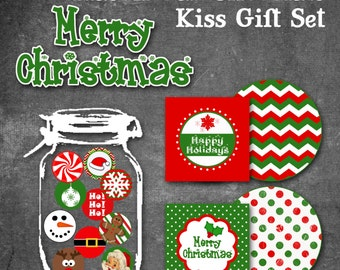 Christmas Chocolate Kiss Gift Set - Printable set includes gift tags, mason jar toppers and kiss stickers - INSTANT DOWNLOAD