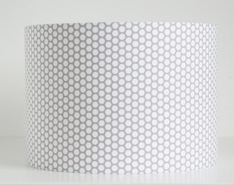 Lampshade in small honeycomb grey and white mosaic circle dot spot fabric handmade drum