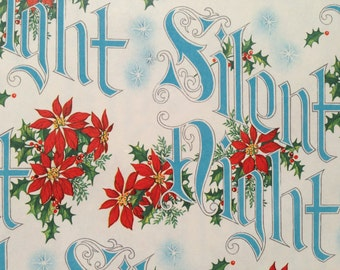 Vintage Christmas Gift Wrapping Paper - Silent Night and Christmas Poinsettias - Blue Christmas Gift Wrap - 1 Unused Full Sheet Gift Wrap