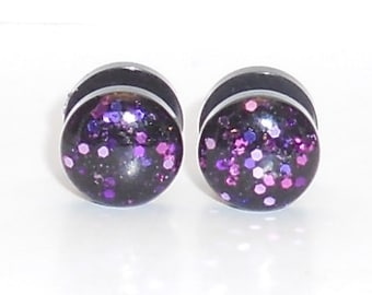 Valentines Day Pink and Purple Limited Edition Glitter 10 mm Fake Plugs