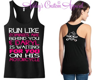 Run Like Zombies Are Behind You - Zombie Shirt - Zombie Apocalypse - Custom Running Tank - Fitness Motivation - Marathon Shirts - Workout