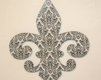 Fleur de lis wall decor, Black and white wall decor, French decor, Fleur de lis wall art