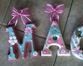 CUSTOM Pink and Teal Hanging Wall Letters for Nursery or Child's Bedroom - Designed by a Professional Artist