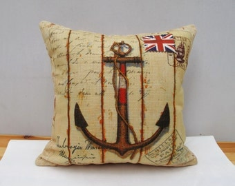 Union Jack Pillow European Style Anchor Linen pillow cover Throw Pillow Cover decorative pillow cushion cover double sides design