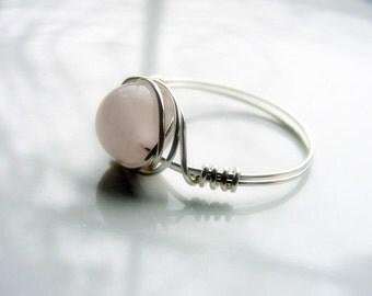 SALE!! Rose Quartz Love Stone Wire Wrap Ring for Compassion and Self Love Chakra Jewellery, Reiki Healing, Gift Idea